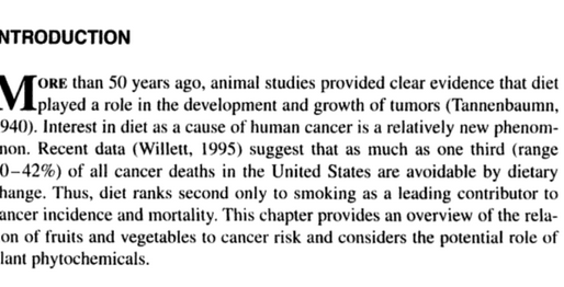 Vegetables, Fruits, and Cancer Risk:  The Role of Phytochemicals (Chapter 1)
