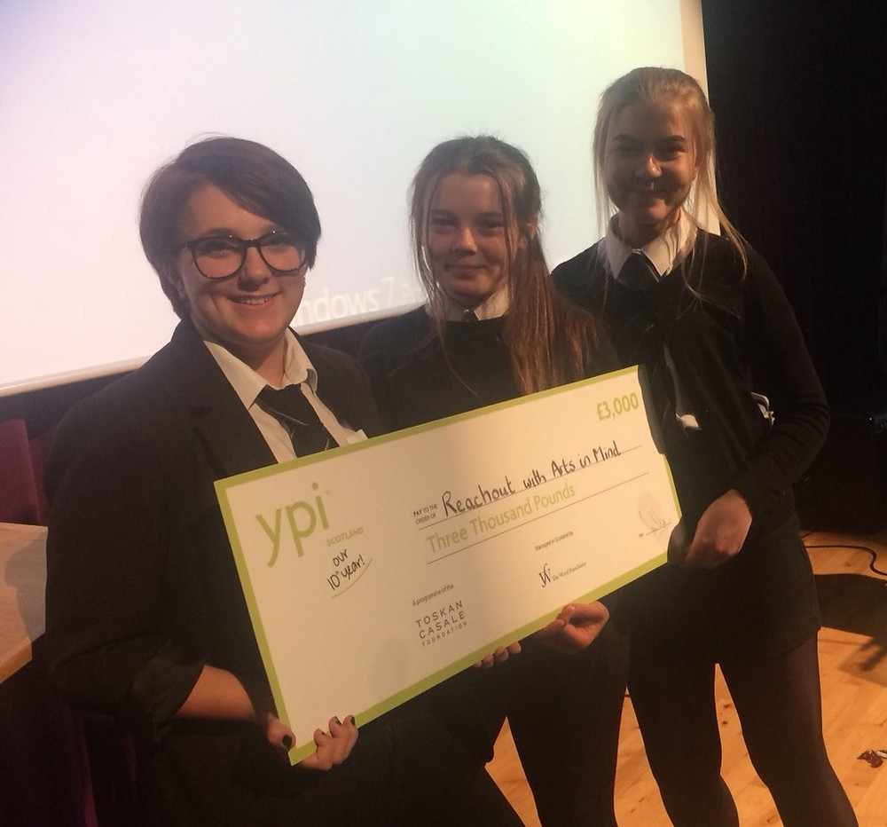 Left to Right: Amy, Calli Jane and Alix with their winning YPI cheque