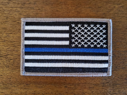 Sew/Iron on Reverse Thin Blue Line Flag Patch