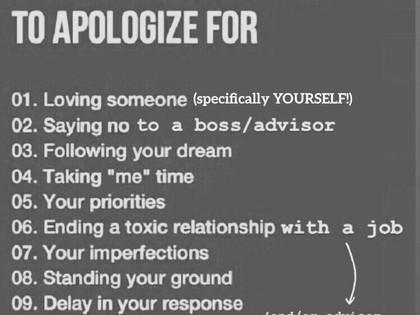 No Apology Necessary