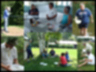 collage of adults learning outdoors