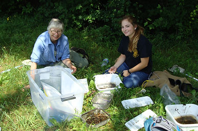 adults collecting water quality information