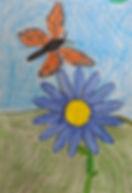 student art - monarch flying above flower