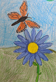 student art - monarch flying above flower