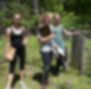 students in cemetery, marshall pond