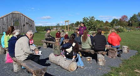 outdoor classroom, families learning in garden