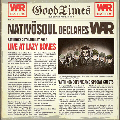 🔉Nativösoul is back at Lazy Bones paying homage to the legendary band WAR