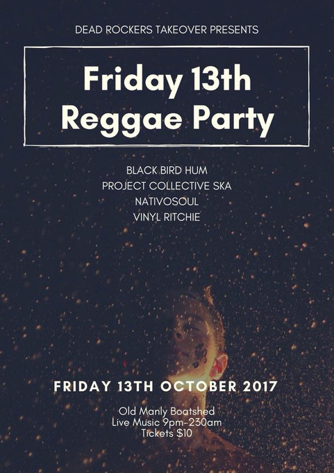 NEXT GIG 13TH OCT 2017 @THE BOATSHED