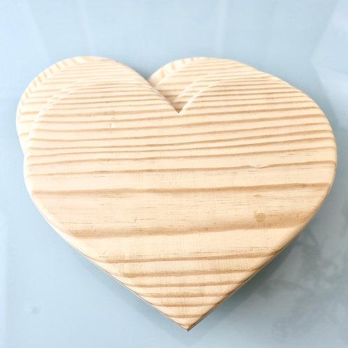 Base Coração em madeira pinus