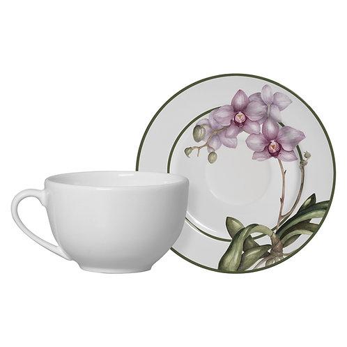 Conjunto 6 Xícaras de Chá com Pires, Orquídea - Alleanza