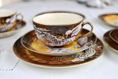 Conjunto de Chá Japonês Satsuma Vintage Marrom