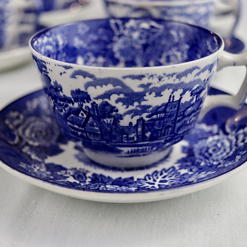 Conjunto de Chá Inglês Vintage Azul
