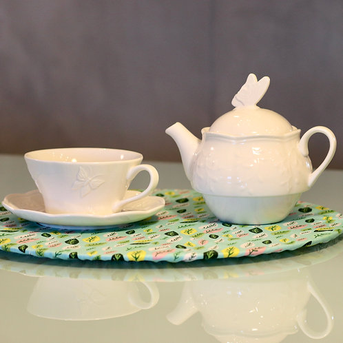 Conjunto para Chá de porcelana New Bone Butterfly Flower