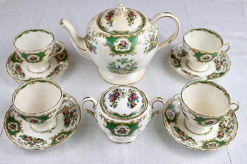 Conjunto de Chá Inglês Vintage Verde