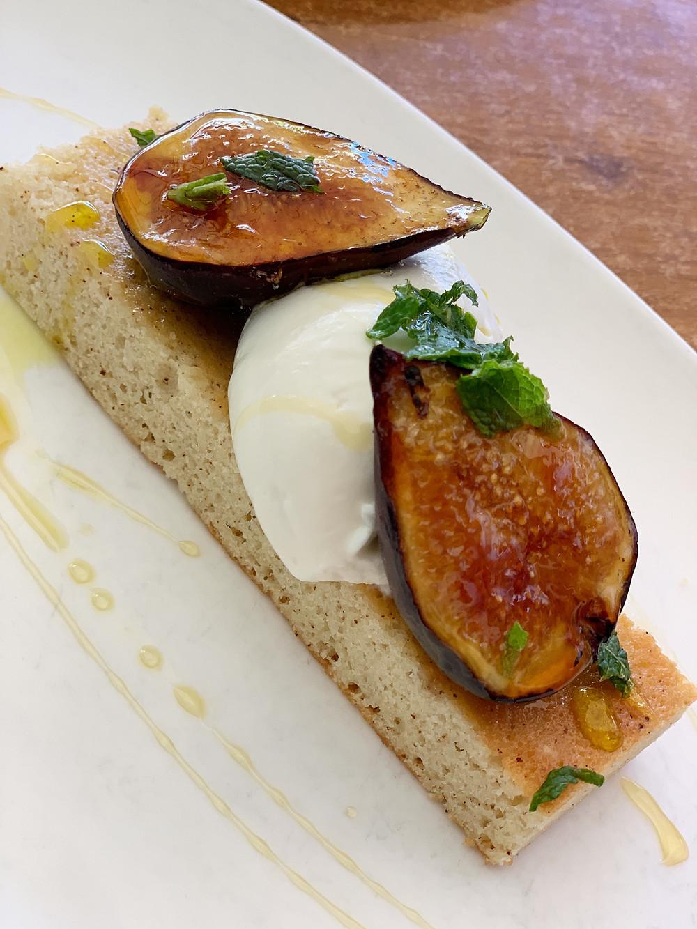 brûléed figs almond-brown butter cake, honey-goat cheese crema