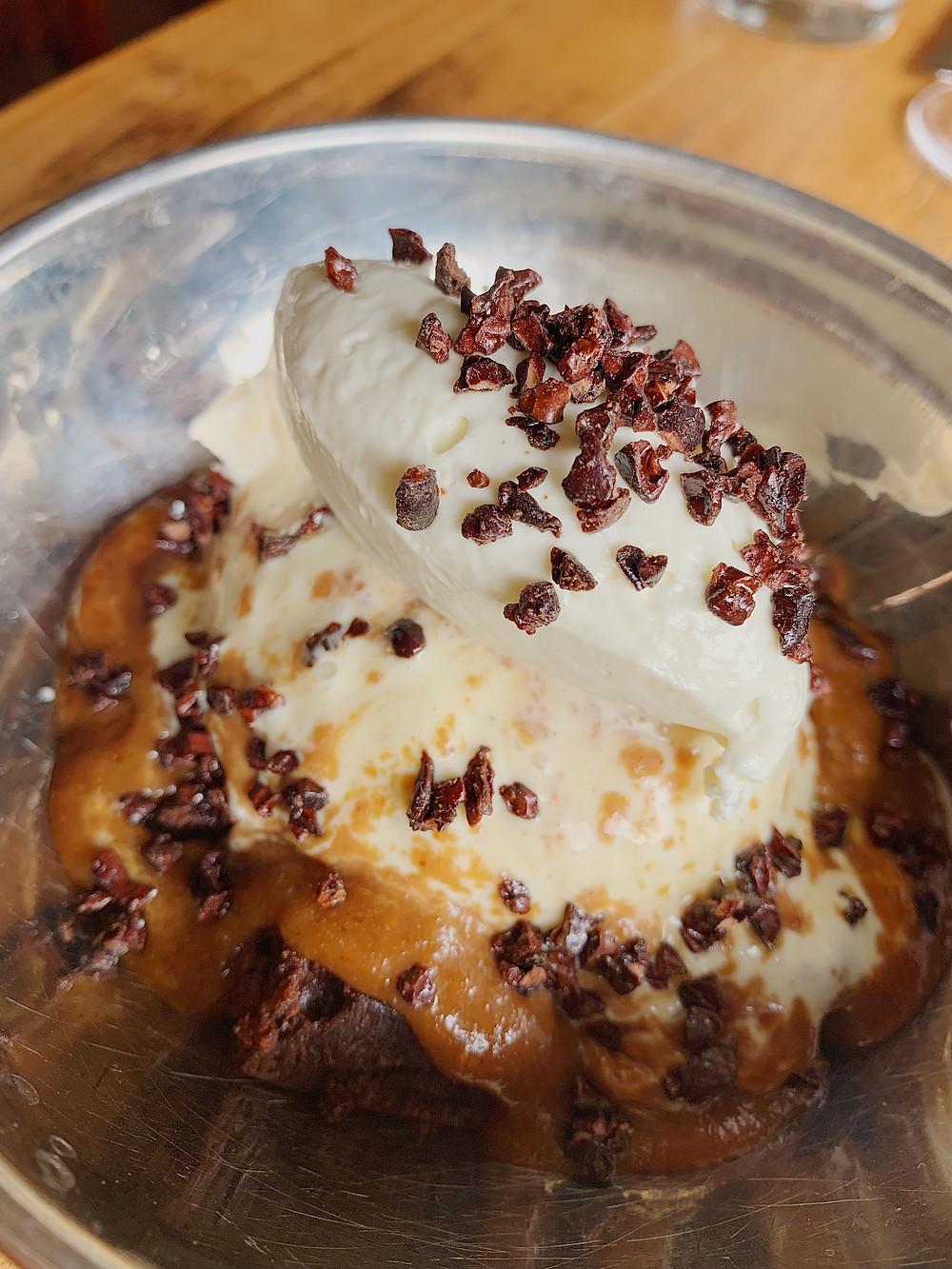brownie sundae  vanilla bean ice cream, salted fig caramel, chantilly, candied cocoa nibs
