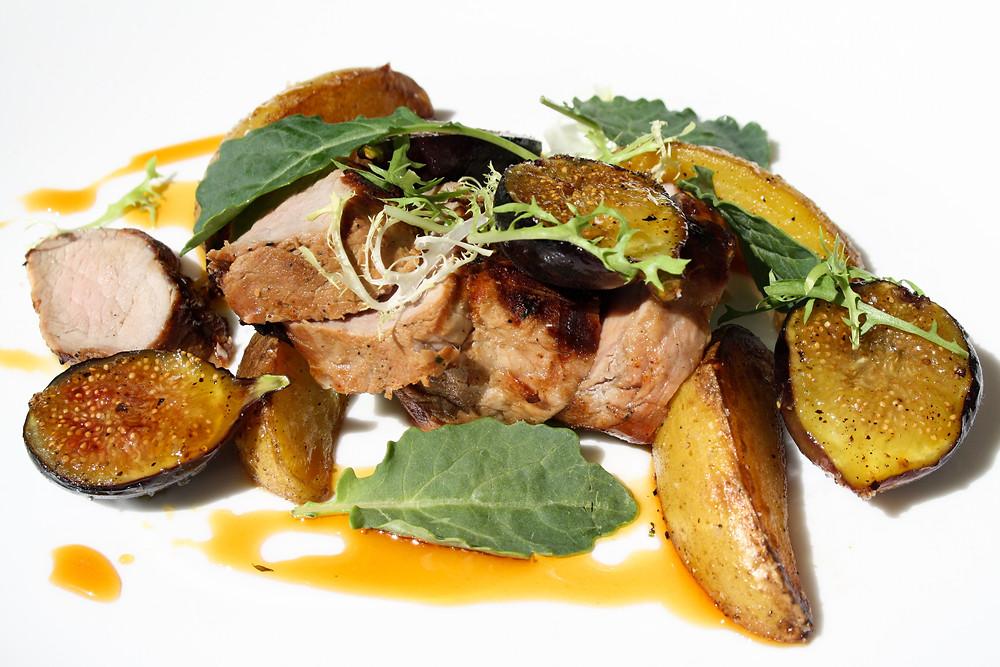 grilled pork tenderloin yellow finn potatoes, grilled figs, honey-wine reduction