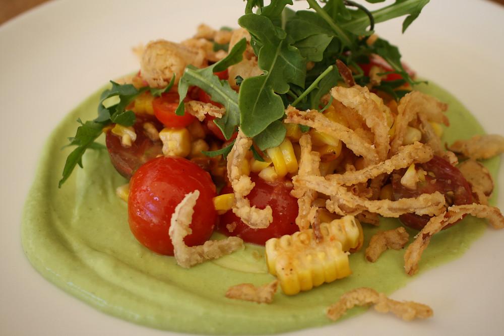 roasted corn salad  toybox tomatoes, avocado crema, crispy shallots,  arugula, chili vinaigrette