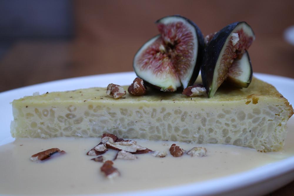 fig gâteau de riz  salted caramel crème anglaise, toasted pecans
