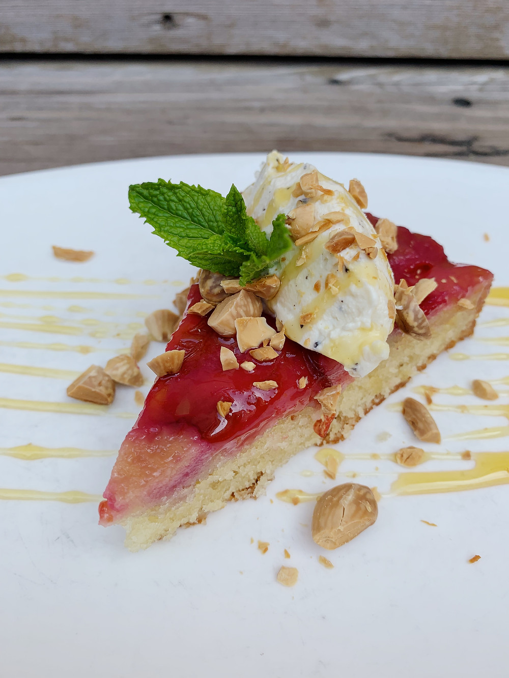 plum upside down cake honey, black pepper fromage, toasted almonds