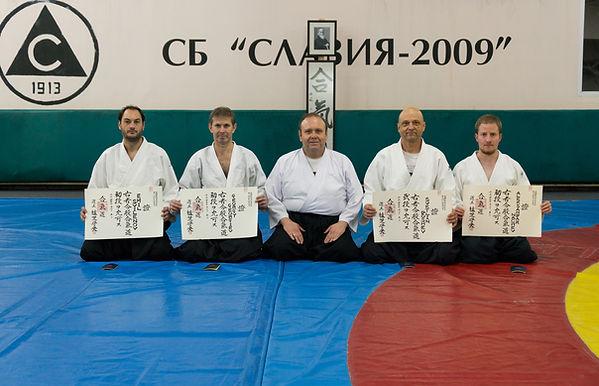 Nikolay Petkov Sensei 5-th Dan, with his students that just recieved Dan degree diploma
