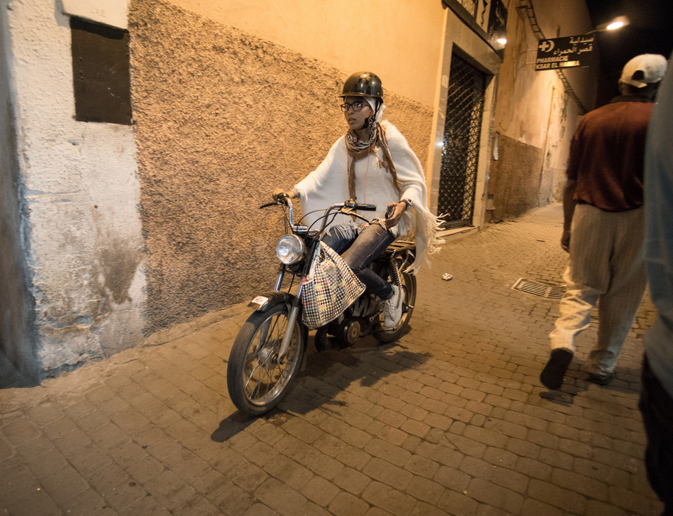 Marakech woman motorcycling
