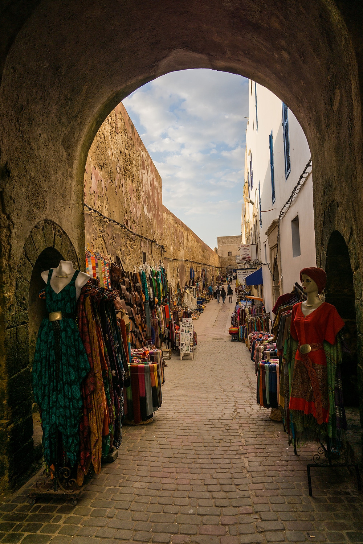 Narrow market street, signature of Morocco