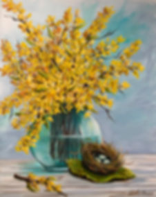 Yellow Forsythia in a vase 1.jpeg
