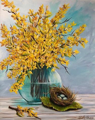 Yellow Forsythia in a vase 1.jpeg