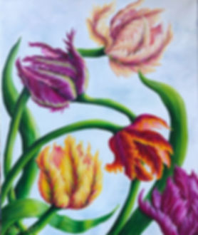 Parrot tulip, paintig by Julia Kulish, flower paintng
