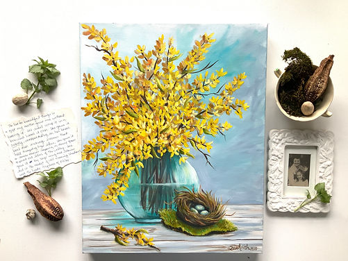 Yellow Forsythia in a vase 2.jpeg