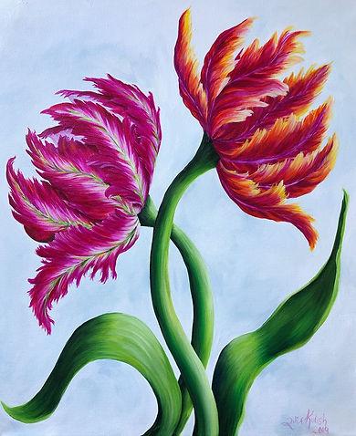 parrot tulip, artwork by artit Julia Kulish, flower painting