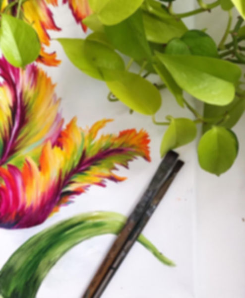 Parrot tulip painting by floral artist, julia Kulish