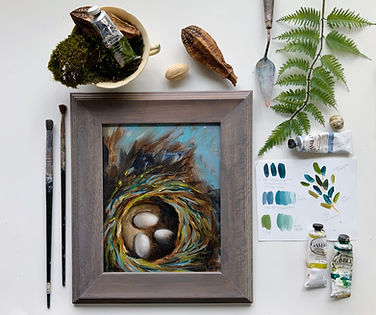 flat lay photography with birds nest pai