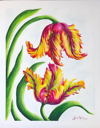 Parrot tulip, artwork by juliakulish, flower painting