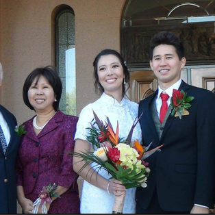 Choon with husband, two sons and daughter-in-law