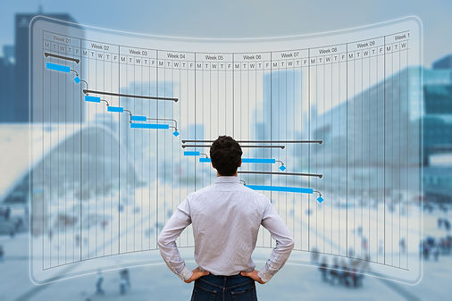 Project manager working with Gantt chart