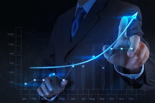businessman hand touch 3d virtual chart