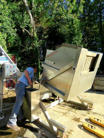 Paul inspecting the chute