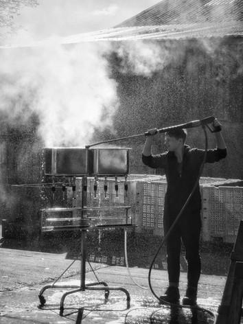 Steam cleaning bottling equipment