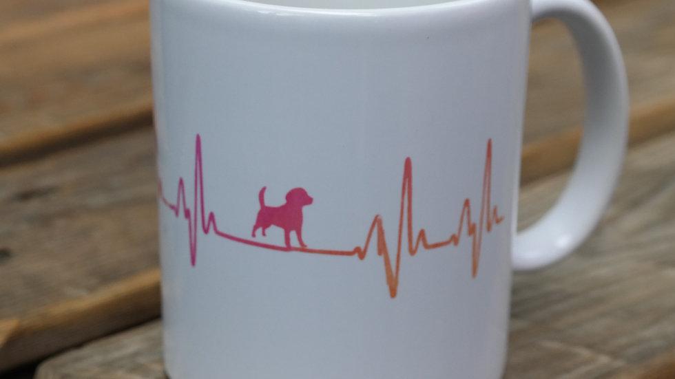 Tasse mit Herzschlag Hund