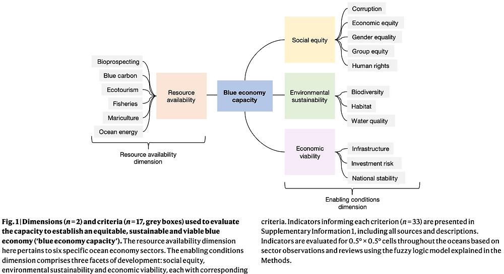 Multi-dimensional framework for assessing blue economy capacity using cross-sectoral indicators.