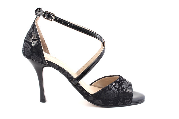 Black Fabric with X Ankle