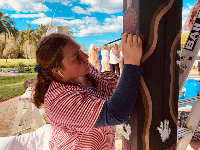 Painting the details on the Entrance poles at Mullum Gateway