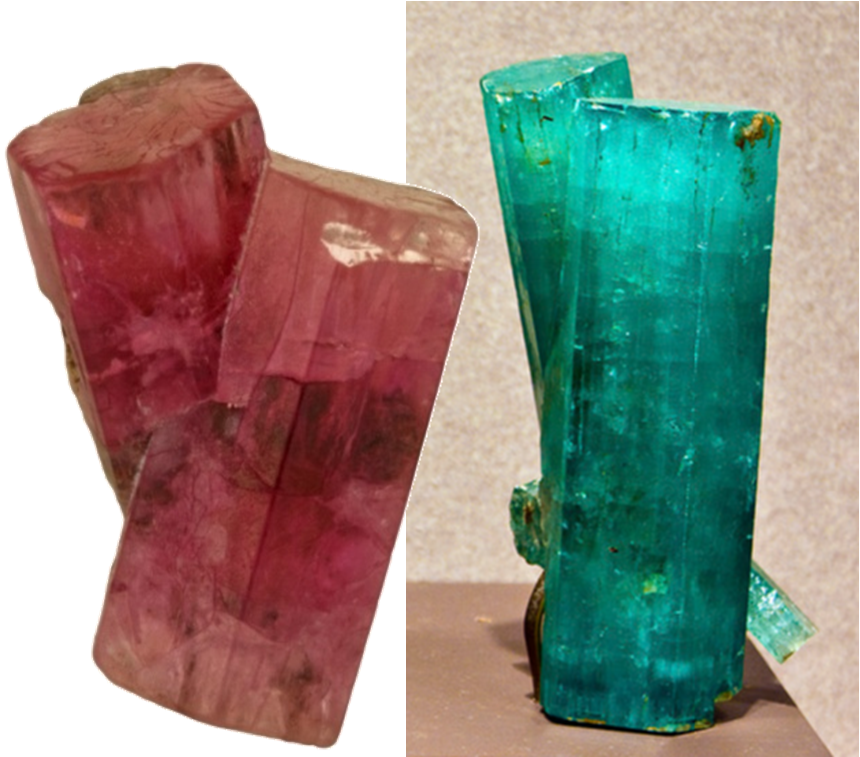 Crossed Red Beryl twin from Utah and Crossed Green Beryl twin from North Carolina in the Smithsonian Collection