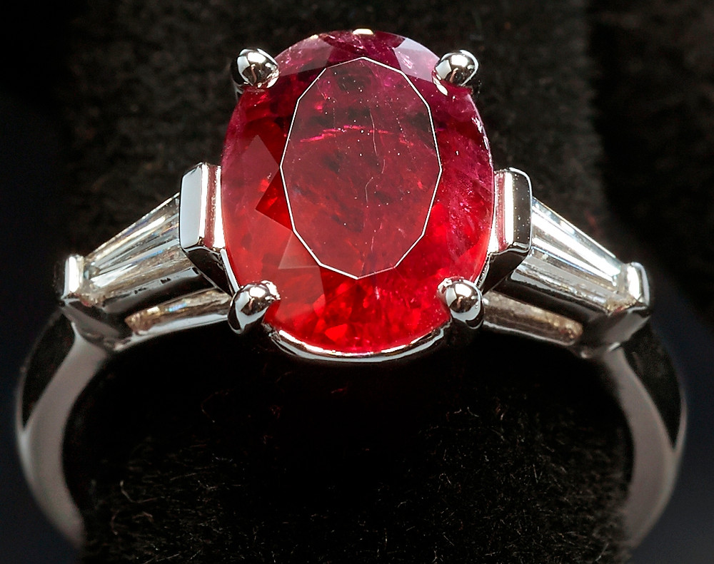 Red Emerald Two Carat Oval Ring