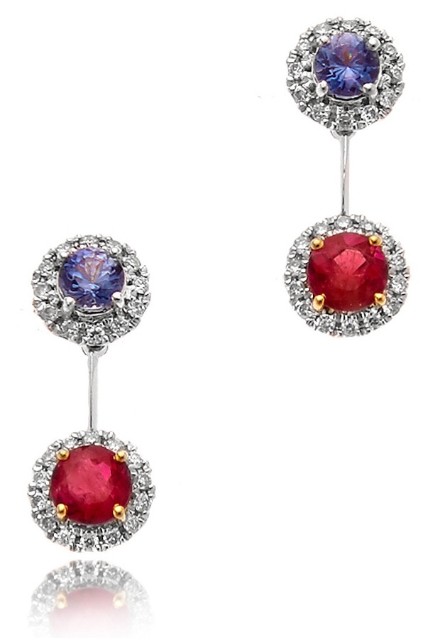 Red Emerald, Diamond and Benitoite earrings by Equatorian Imports - Photo by Monte Zajicek