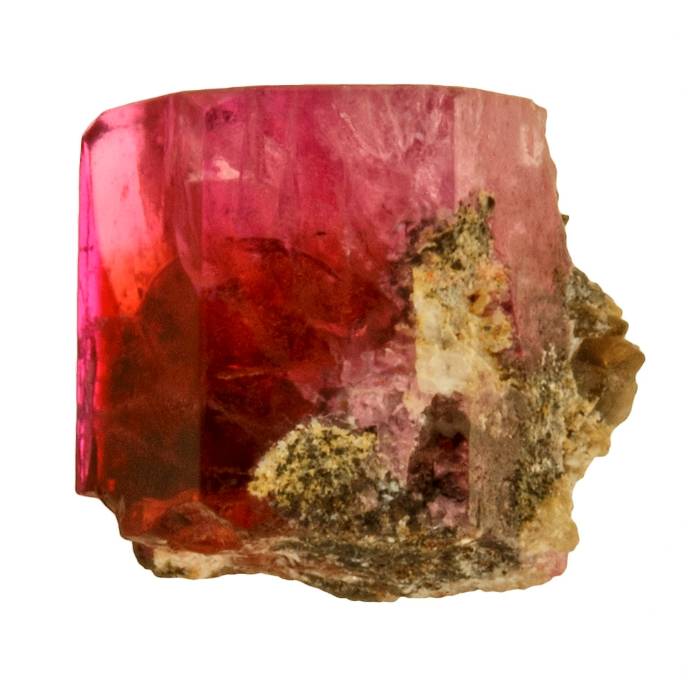 Bixbyite Saturates a Red Beryl Prism with Orange