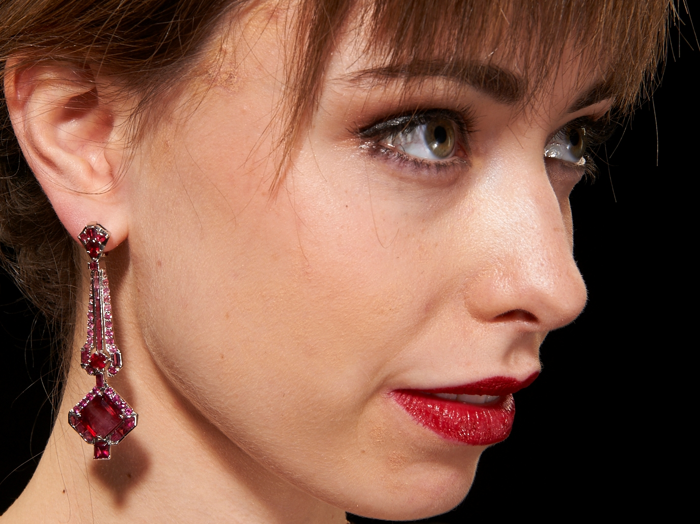 Comet-Tail Red Emerald Earrings