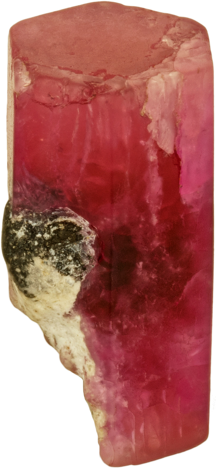 Bixbyite inclusion in a red beryl prism